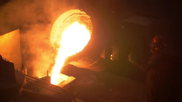 Thumbnail for Industrial Worker Casting Metal at Metallurgical Factory. Molding Molten Metal