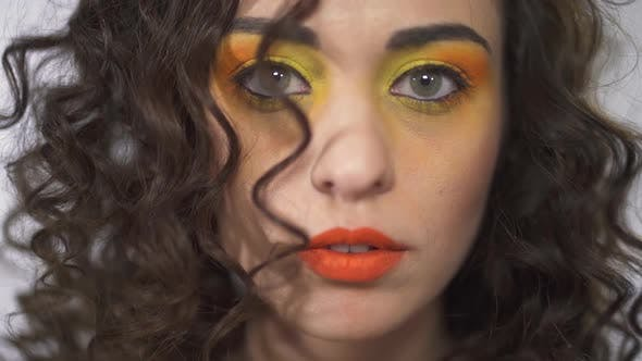 Thumbnail for Close Up Portrait of Smiling Young Curly Beautiful Girl with Bright Pin Up Gradient Make Up