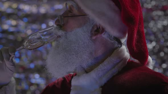 Portrait of Santa Claus with Glass of Champagne