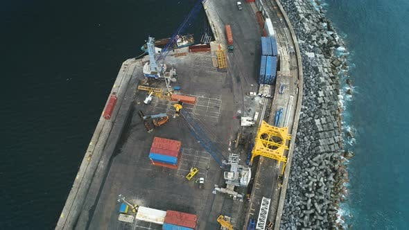 Thumbnail for Aerial View Of Cargo Sea Port Dock Work