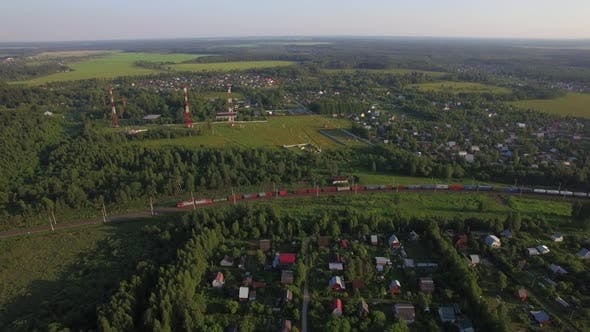 Thumbnail for Summer Houses in the Countryside and Freight Train, Aerial View