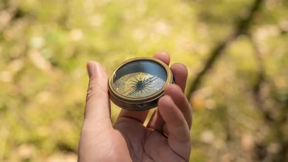Thumbnail for Traveler Hand Holds a Compass in Forest