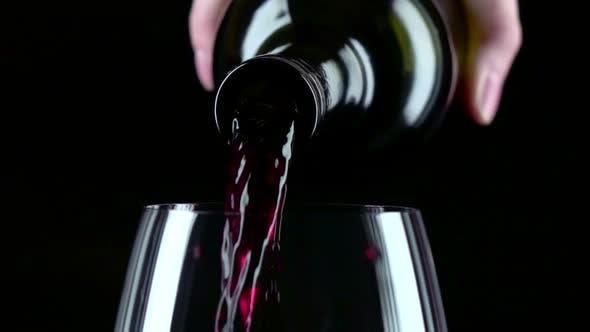 Thumbnail for Bottle Filling the Glass of Wine, Black