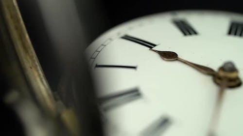 Vintage Pocket Watch Rotate . Close Up. Black Background. Sound