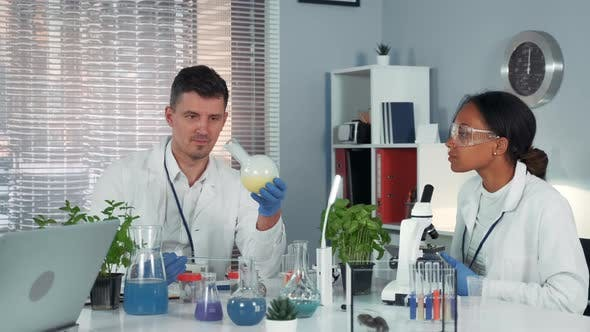 Thumbnail for Research Scientist Providing Experiment with Liquid in Flask While His Collegue Observing