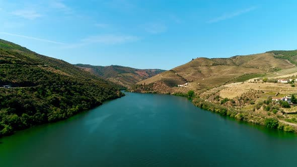 Thumbnail for Aerial View on River in Douro and Mountains
