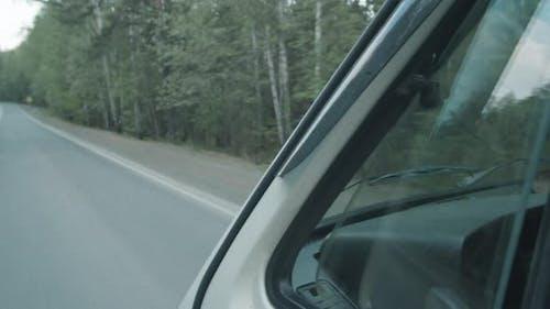 Woman Petting Dog and Driving Van