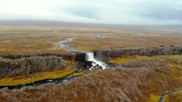 Thumbnail for Aerial View Autumn Landscape in Iceland, Rocky Canyon with Waterfall, Thingvellir