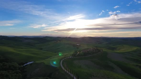 Thumbnail for Tuscany Aerial Landscape with Road and Cypresses