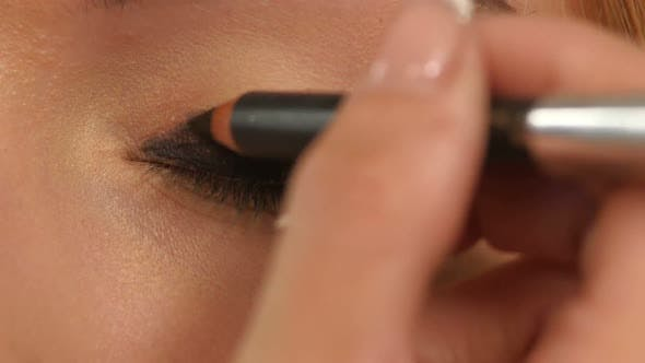 Thumbnail for Eye Makeup Woman Applying Eyeshadow Powder, Close Up