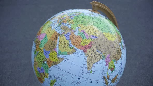 Thumbnail for Rotating Earth Globe On The Background.