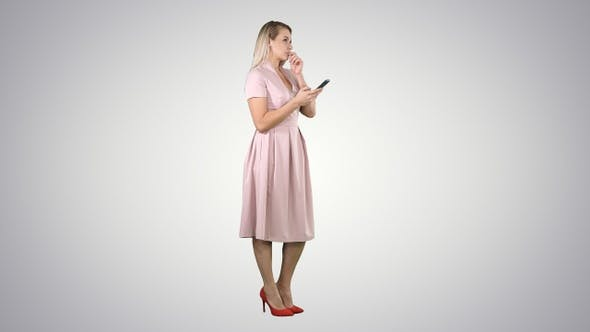 Thumbnail for Blonde teenager woman wearing pink texting message on her