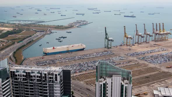 Thumbnail for Port Singapore with Containers Terminals and Merchat Ships in the Bay Timelapse