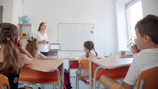 The Teacher in the Lesson Stands in Front of the Board and Explains To the Children