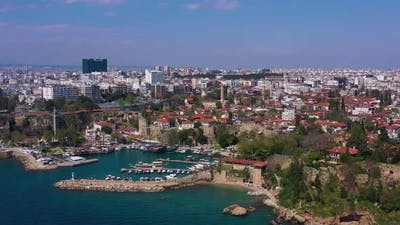 Antalya Old Town and Old Town Marina on Sunny Day