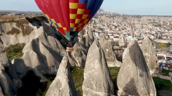 Colourful Red Blue Yellow Colours Hot Air Baloons Aerial Drone Flight, The Great Tourist Attraction