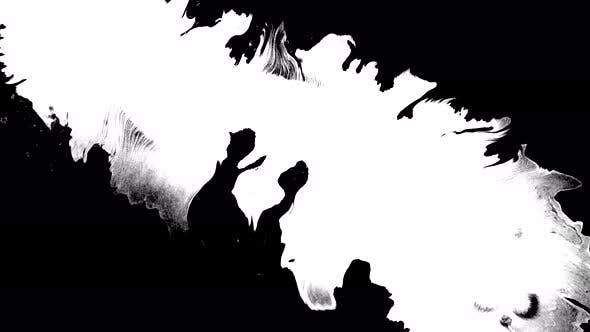 Thumbnail for Bloom Ink. Beautiful White Watercolor Ink Drops Transition on Black Background