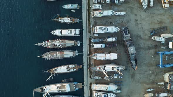 Thumbnail for Yachts and Boats Moored at the Dock Shipyard. Aerial View From Above
