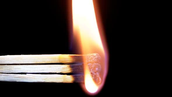 Thumbnail for Three Matches Are Lit a Flame on a Black Background and Then Goes Out Creating a Lot of Smoke