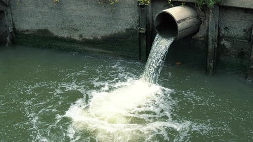 Rainwater Flows Into the Canal Through the City Sewer System
