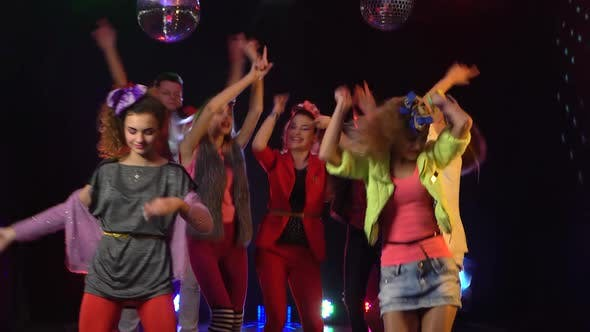 Thumbnail for Crowd of Fans Dancing Jumping Dancing in Studio