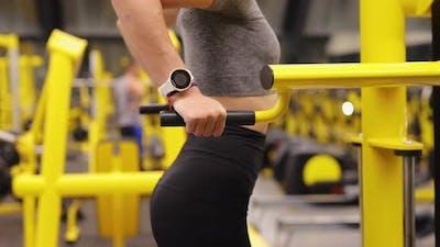 Woman Make Pushup Bar Exercise