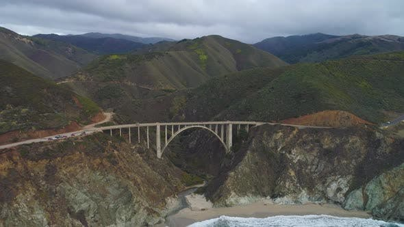 Bixby Creek Bridge and Pacific Ocean. Big Sur, California, USA. Aerial View