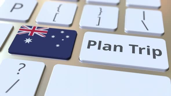 Thumbnail for PLAN TRIP Text and Flag of Australia on the Keyboard