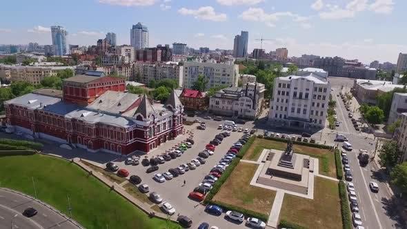 Aerial View of Samara Opera Theatre at Sunny Summer Day