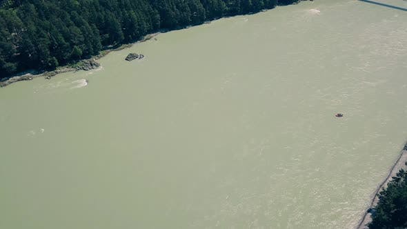 Aerial Flying Over Mountain River