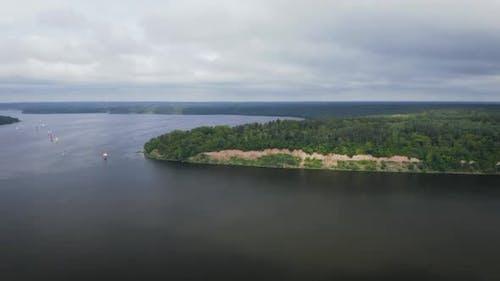 Aerial View Of Sailing Regatta In Kaunas Artificial Lake