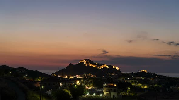 Cover Image for Nightfall at Myrina, Greece. Time Lapse of Night View Above the City