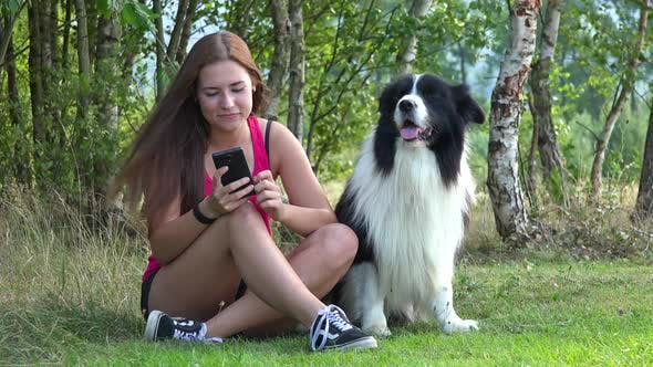 Thumbnail for A Young Beautiful Woman and a Border Collie Sit in a Meadow, the Woman Works on a Smartphone