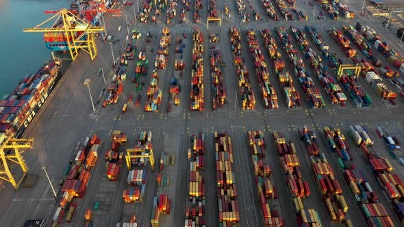 Thumbnail for Aerial View of the Container Terminal of the Seaport of the City of Valencia and the Ship