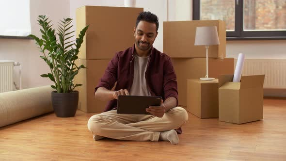 Thumbnail for Man with Tablet Pc and Boxes Moving To New Home 8