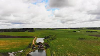 Aerial View Holiday Villa With Lake In Lithuania Countryside