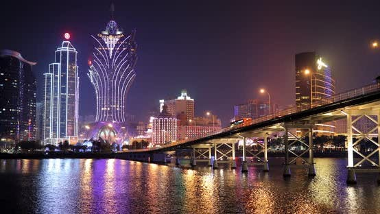 Thumbnail for Macau city downtown at night