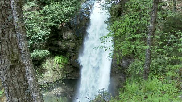Thumbnail for Waterfall Water Falls Down Steep Slope in Forest