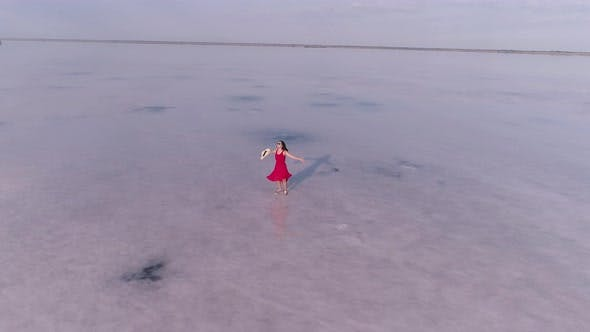 Thumbnail for Girl Traveler in a Red Dress Walks on a Pink Lake. Aerial View