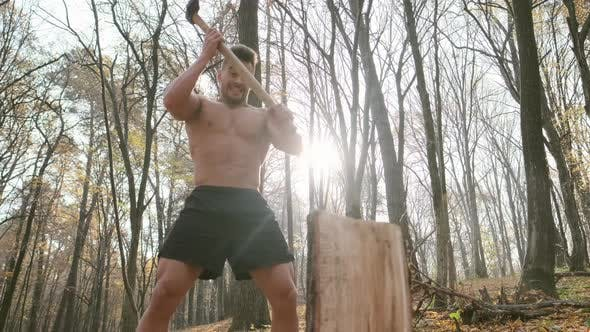 Thumbnail for Strong Guy With Naked Torso Cuts Firewood With An Ax In The Forest.