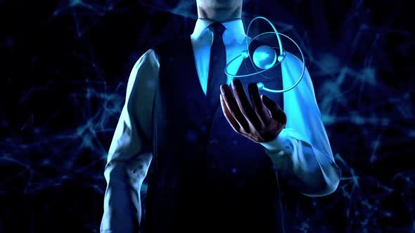 Thumbnail for Businessman Holds Atom Particle In  Left Hand With Plexus Network Connection Lines