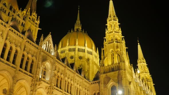 Thumbnail for Parliament of Budapest facades by the night lights 4K 2160p UltraHD footage - Art of architecture on
