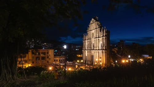 Time lapse view of people at the historical district Christ church old of Macau