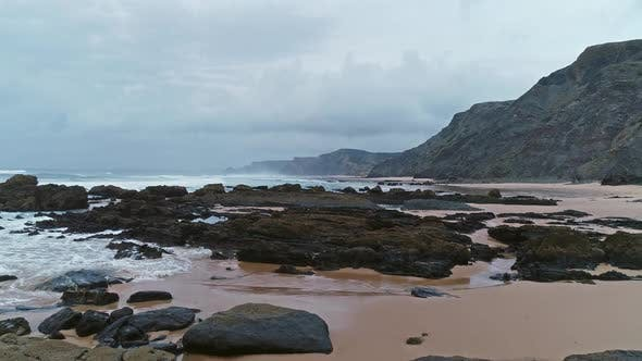 Thumbnail for Flying Over Beach on Atlantic Coast in Portugal