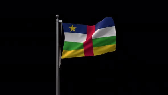 Central African Republic Flag On Flagpole With Alpha Channel 4K