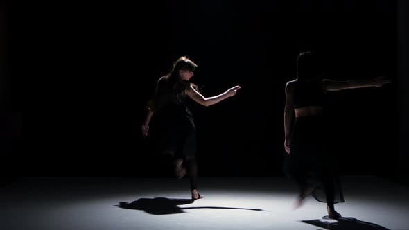 Thumbnail for Sensual Contemporary Dance Performance of Two Dancers on Black, Shadow