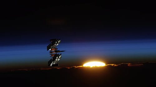 International Spaceship Floating in Space During Sunset