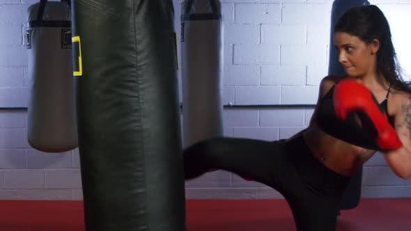 Young Woman Kickboxing 05