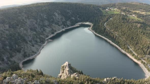 Aerial view of the beautiful little lake Blanc in Haut-Rhin