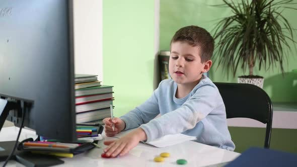 Distance Learning, Male Child Sits at Monitor Screen and Watches Video Lesson Online